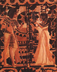 Tutankhamun receives flowers from Ankhesenamun as a sign of love. copyright Wikipedia